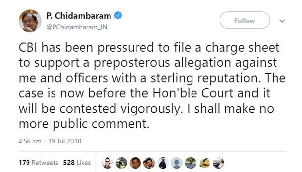 P. Chidambaram tweet