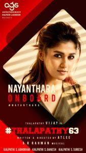 Vijay 63 Nayanthara Announcement