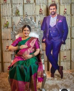 Actress Meghna Raj with Hubby's Cut out
